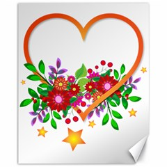 Heart Flowers Sign Canvas 11  X 14