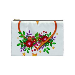 Heart Flowers Sign Cosmetic Bag (medium)  by Nexatart