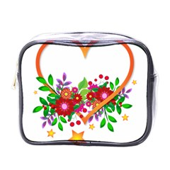 Heart Flowers Sign Mini Toiletries Bags by Nexatart
