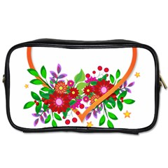 Heart Flowers Sign Toiletries Bags 2 Side by Nexatart