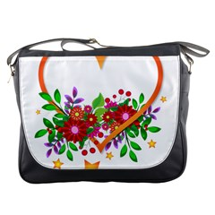 Heart Flowers Sign Messenger Bags