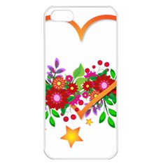 Heart Flowers Sign Apple Iphone 5 Seamless Case (white)