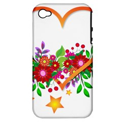 Heart Flowers Sign Apple Iphone 4/4s Hardshell Case (pc+silicone)