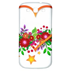 Heart Flowers Sign Samsung Galaxy S3 S Iii Classic Hardshell Back Case by Nexatart