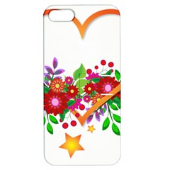 Heart Flowers Sign Apple Iphone 5 Hardshell Case With Stand
