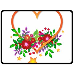 Heart Flowers Sign Double Sided Fleece Blanket (large)  by Nexatart