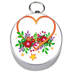 Heart Flowers Sign Silver Compasses