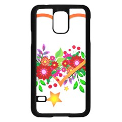 Heart Flowers Sign Samsung Galaxy S5 Case (black) by Nexatart