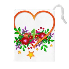 Heart Flowers Sign Drawstring Pouches (extra Large) by Nexatart