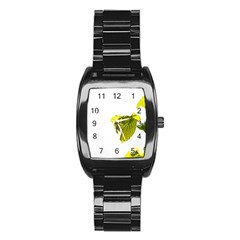 Leaves Nature Stainless Steel Barrel Watch