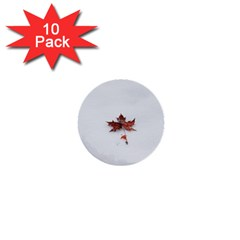 Winter Maple Minimalist Simple 1  Mini Buttons (10 Pack)  by Nexatart