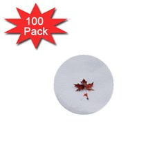 Winter Maple Minimalist Simple 1  Mini Buttons (100 Pack)  by Nexatart
