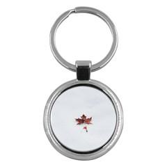Winter Maple Minimalist Simple Key Chains (round)  by Nexatart