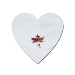 Winter Maple Minimalist Simple Heart Magnet