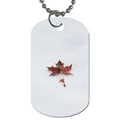 Winter Maple Minimalist Simple Dog Tag (two Sides) by Nexatart