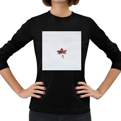 Winter Maple Minimalist Simple Women s Long Sleeve Dark T Shirts