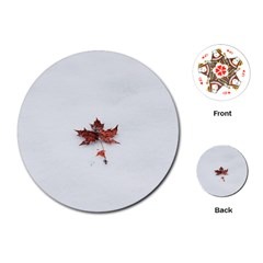 Winter Maple Minimalist Simple Playing Cards (round)