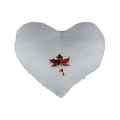 Winter Maple Minimalist Simple Standard 16  Premium Heart Shape Cushions by Nexatart