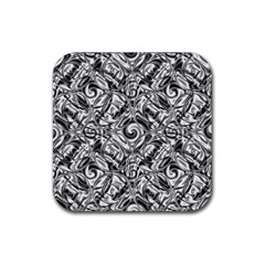 Gray Scale Pattern Tile Design Rubber Square Coaster (4 Pack)  by Nexatart