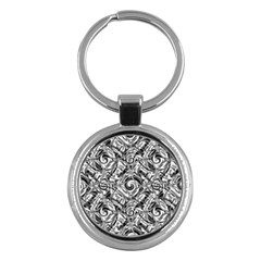 Gray Scale Pattern Tile Design Key Chains (round)  by Nexatart