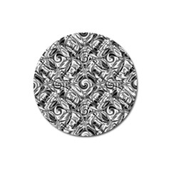 Gray Scale Pattern Tile Design Magnet 3  (round) by Nexatart