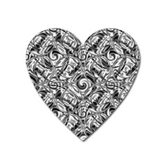 Gray Scale Pattern Tile Design Heart Magnet by Nexatart