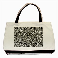 Gray Scale Pattern Tile Design Basic Tote Bag (two Sides) by Nexatart