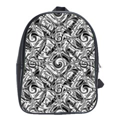 Gray Scale Pattern Tile Design School Bags(large)