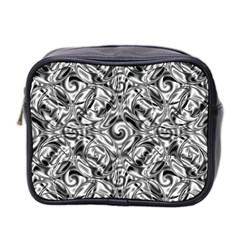 Gray Scale Pattern Tile Design Mini Toiletries Bag 2 Side by Nexatart