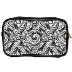 Gray Scale Pattern Tile Design Toiletries Bags 2 Side