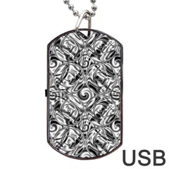Gray Scale Pattern Tile Design Dog Tag Usb Flash (two Sides)