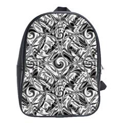 Gray Scale Pattern Tile Design School Bags (xl)