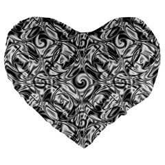 Gray Scale Pattern Tile Design Large 19  Premium Heart Shape Cushions