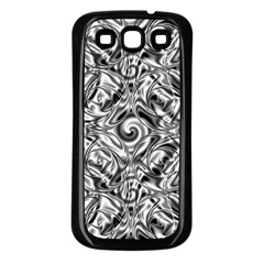 Gray Scale Pattern Tile Design Samsung Galaxy S3 Back Case (black)