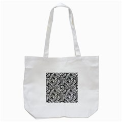 Gray Scale Pattern Tile Design Tote Bag (white) by Nexatart