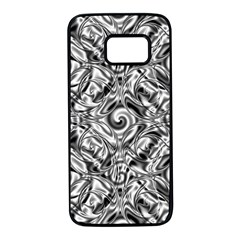 Gray Scale Pattern Tile Design Samsung Galaxy S7 Black Seamless Case