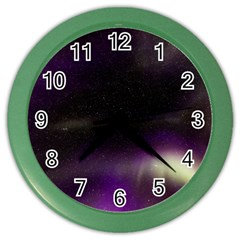 The Northern Lights Nature Color Wall Clocks by Nexatart