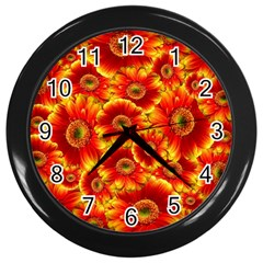 Gerbera Flowers Nature Plant Wall Clocks (black) by Nexatart