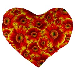 Gerbera Flowers Nature Plant Large 19  Premium Heart Shape Cushions