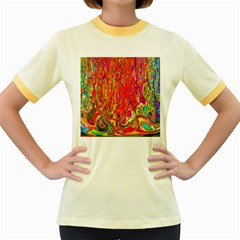 Background Texture Colorful Women s Fitted Ringer T Shirts