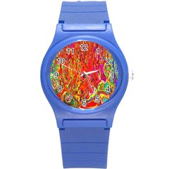 Background Texture Colorful Round Plastic Sport Watch (s) by Nexatart