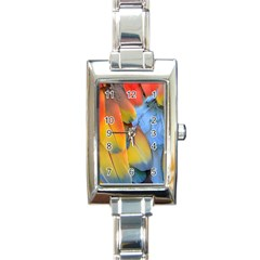 Spring Parrot Parrot Feathers Ara Rectangle Italian Charm Watch