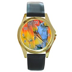 Spring Parrot Parrot Feathers Ara Round Gold Metal Watch