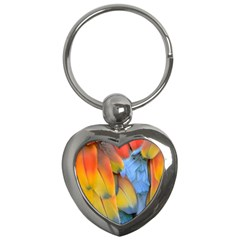 Spring Parrot Parrot Feathers Ara Key Chains (heart)