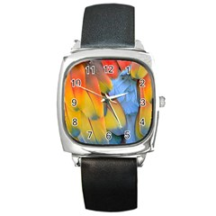 Spring Parrot Parrot Feathers Ara Square Metal Watch