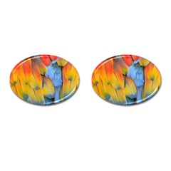 Spring Parrot Parrot Feathers Ara Cufflinks (oval)