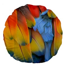 Spring Parrot Parrot Feathers Ara Large 18  Premium Flano Round Cushions