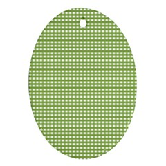 Gingham Check Plaid Fabric Pattern Ornament (oval) by Nexatart