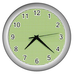 Gingham Check Plaid Fabric Pattern Wall Clocks (silver)