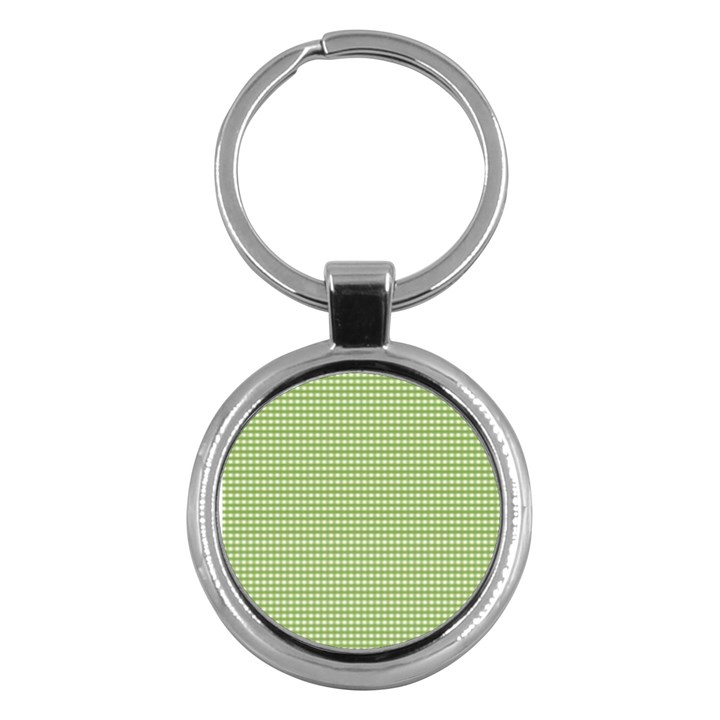Gingham Check Plaid Fabric Pattern Key Chains (Round)